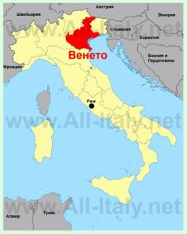 Венето на карте Италии