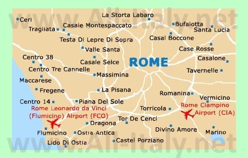 Аэропорты Рима на карте
