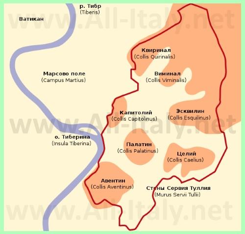 Семь холмов на карте Рима