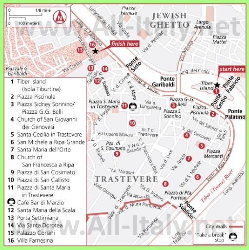 Карта Трастевере с достопримечательностями