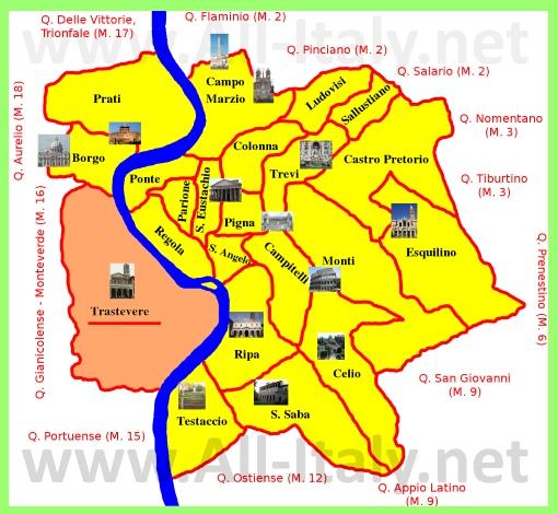 Трастевере на карте Рима